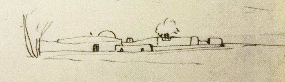 Zeichnung einer Koubba von Isabelle Eberhardt, ca 1904