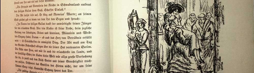 Lithographie von Walter Klemm, erschienen in Ekkehard von J. Victor von Scheffel, Verlagsanstalt hermann Klemm A.G., Berlin-Grunewald